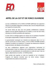 ANI du 11/01/2013 : Appel commun CGT et Force Ouvrière dans ACCUEIL appel1-209x300